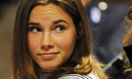 Amanda Knox arrives at her trial for the murder of Meredith Kercher in 2009